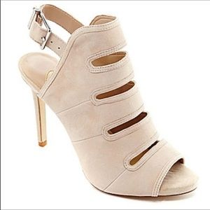 Gianni Bini Tan/Ivory Suede Cut-Out Heels, s10M